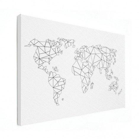 Geometrische Weltkarte Linien Leinwand