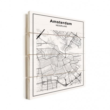 Stadtkarte Amsterdam Schwarz-Weiß Holz