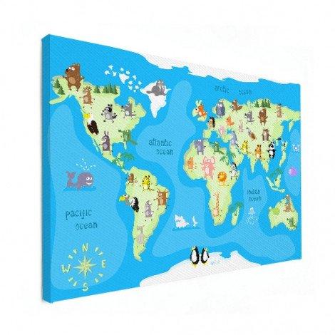 Weltkarte Tanzende Tiere Leinwand