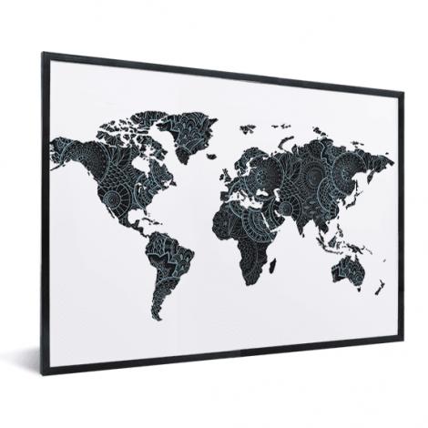 Asiatisch –  Schwarz / Blau im Rahmen