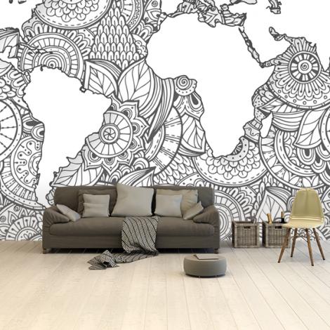 Asiatisch - schwarz-weiß Tapete