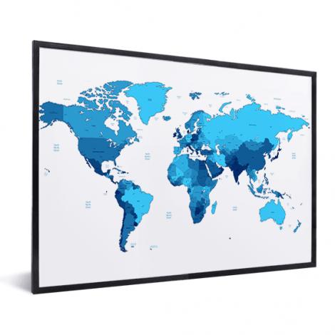Weltkarte Blautöne im Rahmen