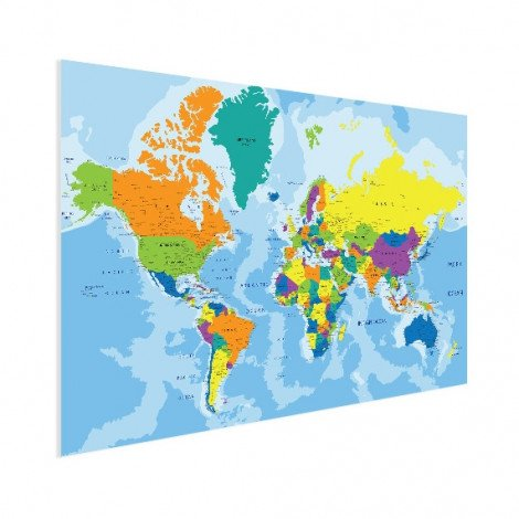 Weltkarte Grelle Farben Poster
