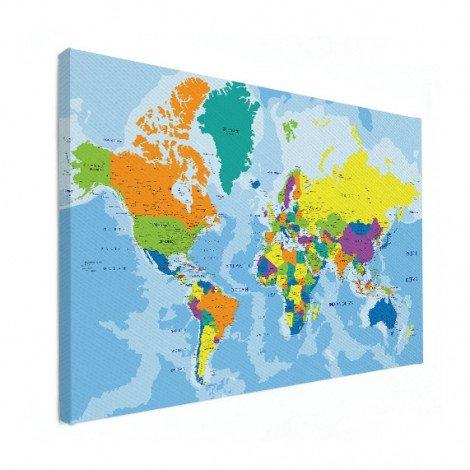 Weltkarte Grelle Farben Leinwand