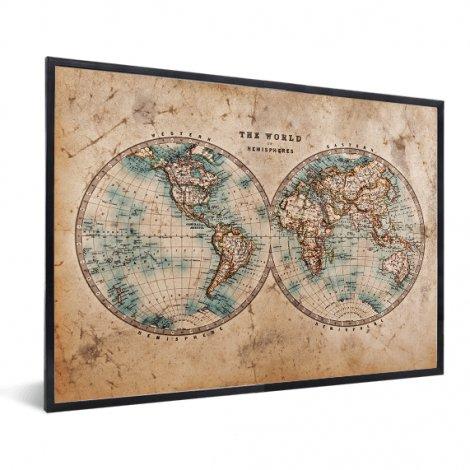 Weltkarte Halbkugeln im Rahmen