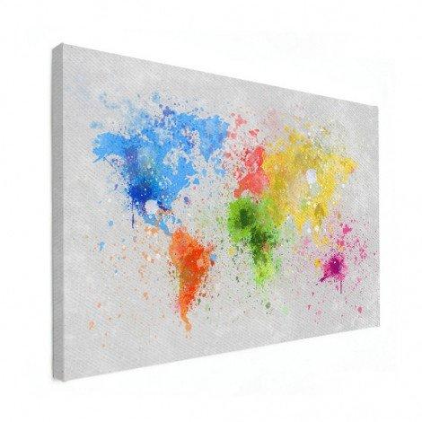 Weltkarte Farbspritzer bunt Leinwand