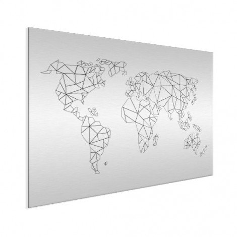 Geometrische Weltkarte Linien Aluminium