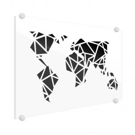 Geometrische Weltkarte Schwarz Acrylglas