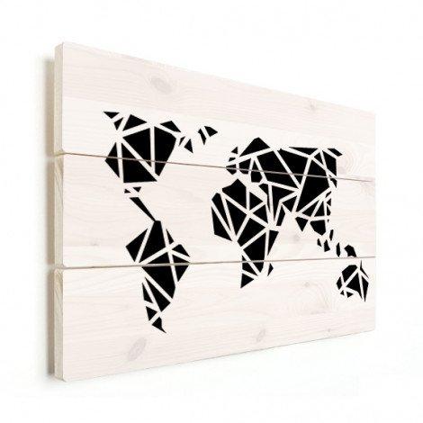 Geometrische Weltkarte Schwarz Holz
