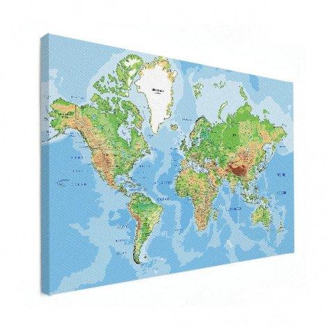 Weltkarte Geografisch Leinwand
