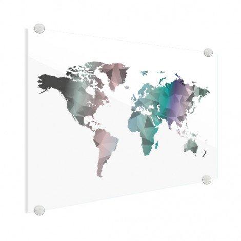 Geometrische Weltkarte Farbe Acrylglas
