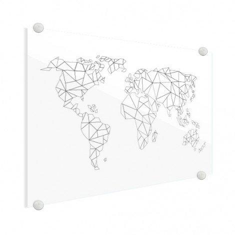Geometrische Weltkarte Linien Acrylglas