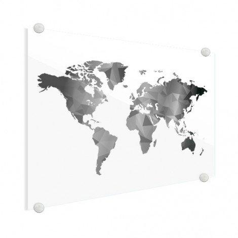 Geometrische Weltkarte Schwarz-Weiß Acrylglas
