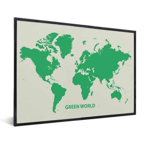 Weltkarte Grün im Rahmen