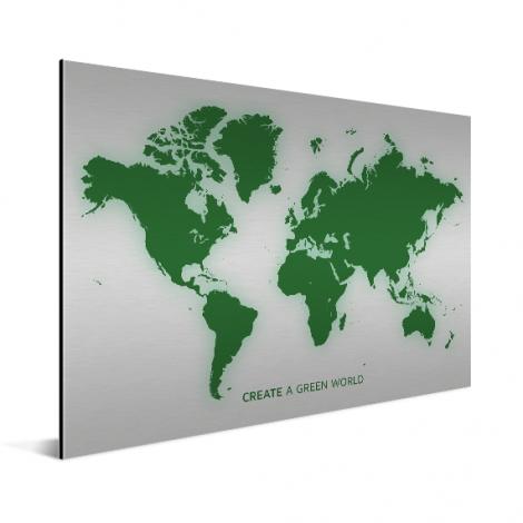 Weltkarte Grün Aluminium