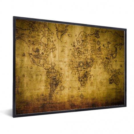 Weltkarte Kompass im Rahmen