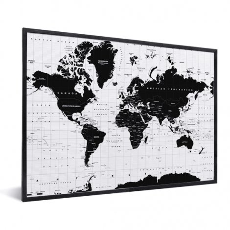 Weltkarte Informativ im Rahmen