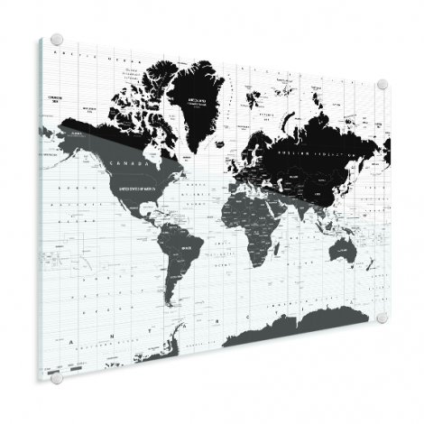 Weltkarte Informativ Acrylglas