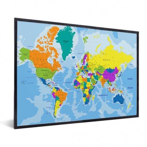 Weltkarte Grelle Farben im Rahmen