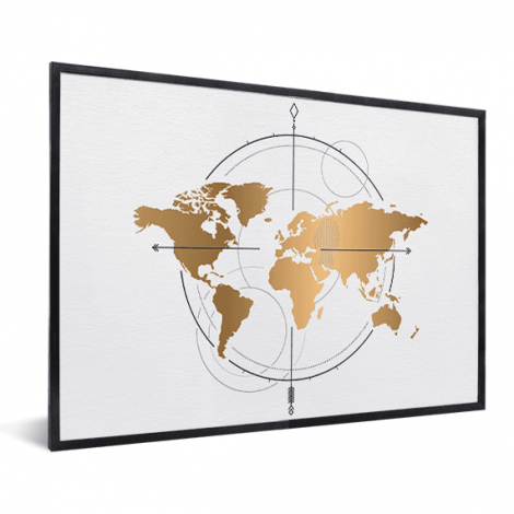 Kompass – groß Gold im Rahmen