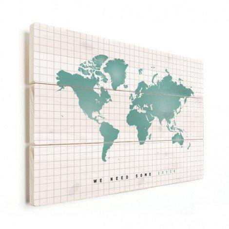Weltkarte Minzgrün Holz