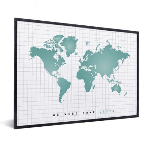 Weltkarte Minzgrün im Rahmen