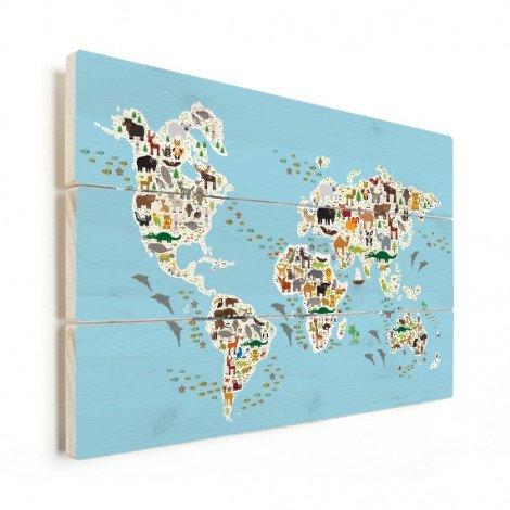 Weltkarte Fauna & Flora Holz