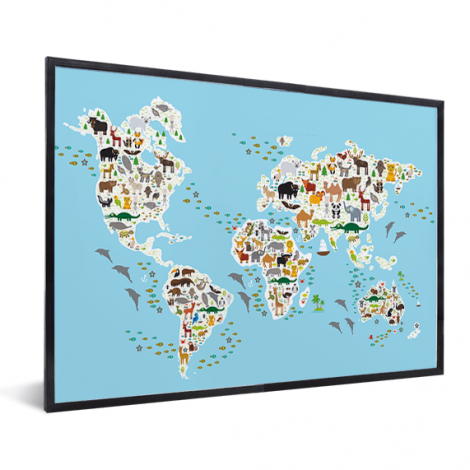 Weltkarte Fauna & Flora im Rahmen