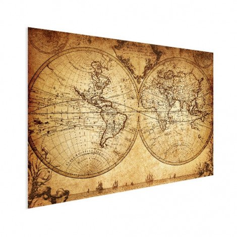 Weltkarte Halbkugeln Poster