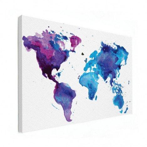 Weltkarte Aquarell blau Leinwand