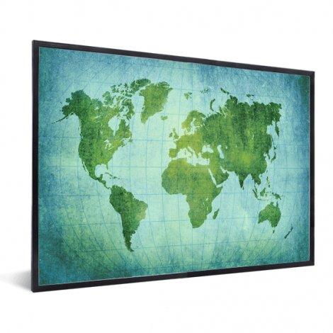 Weltkarte Pergament Kräftig Grün im Rahmen