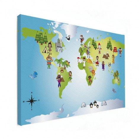 Weltkarte Kleine Freunde Leinwand