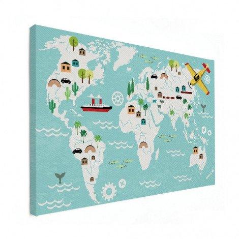 Weltkarte Technisch Leinwand