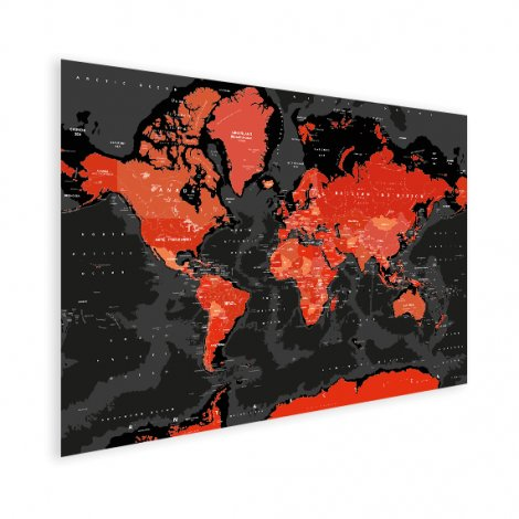 Weltkarte Rot - Schwarz Poster