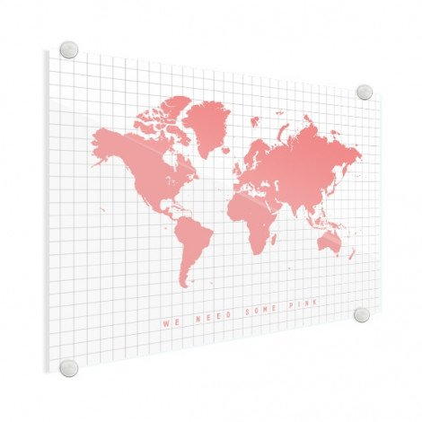 Weltkarte Rosa Acrylglas