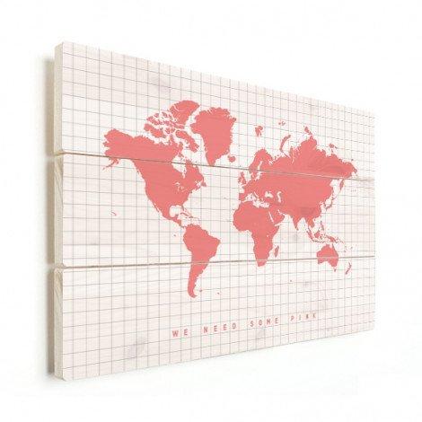 Weltkarte Rosa Holz