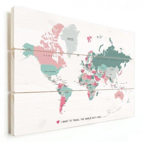 Romantische Weltkarte Holz