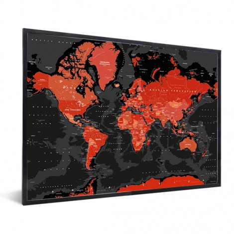 Weltkarte Rot – Schwarz im Rahmen