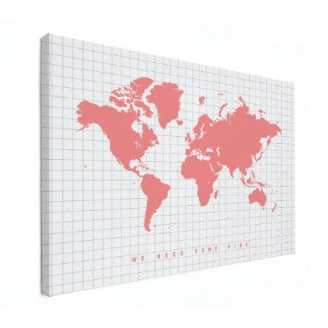 Weltkarte Rosa Leinwand