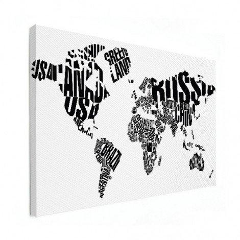 Weltkarte Text schwarz Leinwand