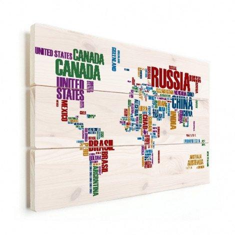 Weltkarte Text bunt Holz