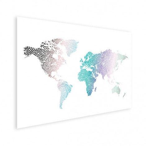 Fingerabdruck Weltkarte Farbig Poster