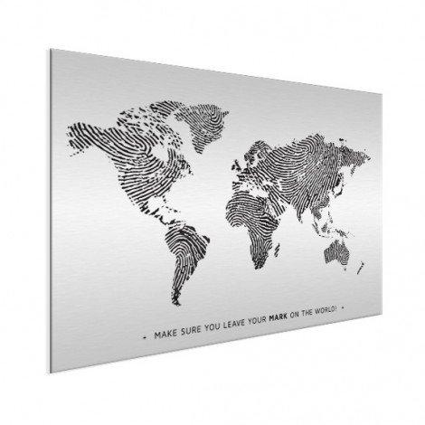 Fingerabdruck Weltkarte Schwarz-Weiß mit Text Aluminium