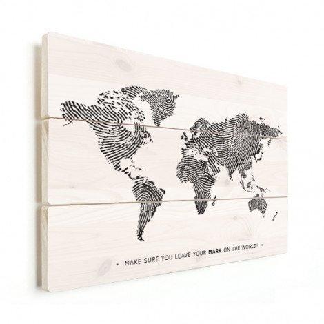 Fingerabdruck Weltkarte Schwarz-Weiß mit Text Holz
