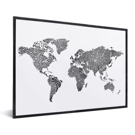 Fingerabdruck Weltkarte Schwarz-Weiß im Rahmen