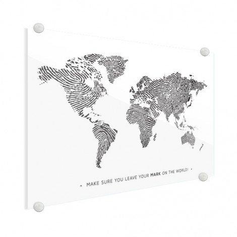 Fingerabdruck Weltkarte Schwarz-Weiß mit Text Acrylglas