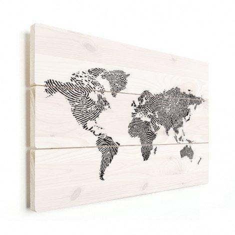 Fingerabdruck Weltkarte Schwarz-Weiß Holz