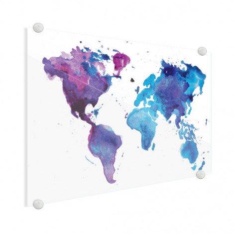 Weltkarte Aquarell blau Acrylglas