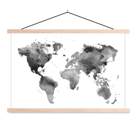 Aquarell Weltkarte Schwarz-Weiß Textilposter