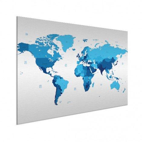 Weltkarte Blautöne Aluminium